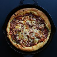 Skillet of homemade Deep Dish Pizza
