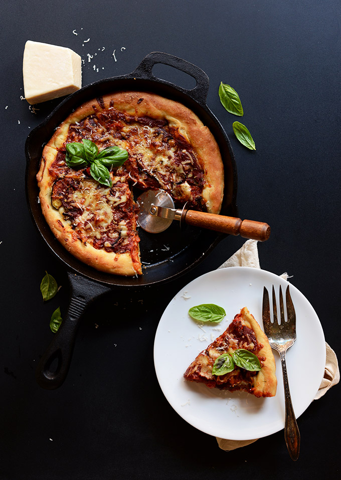 Deep dish pizza from Minimalist Baker