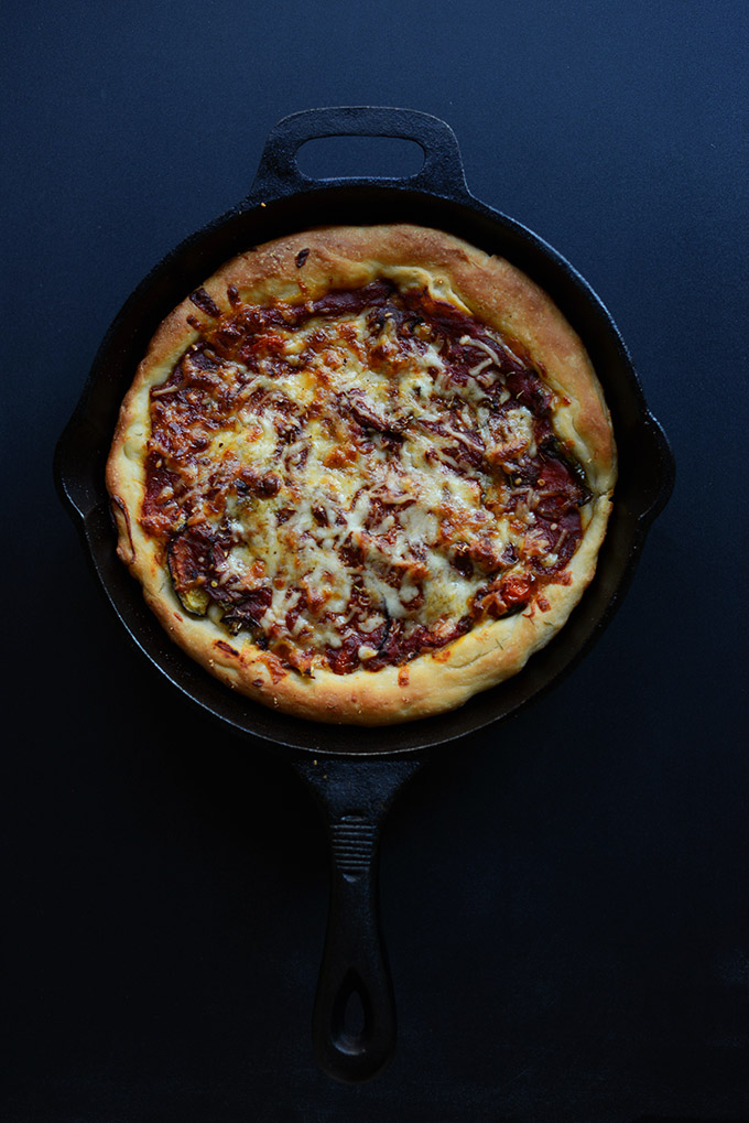 Cast-iron skillet filled with our Easy Deep Dish Pizza recipe