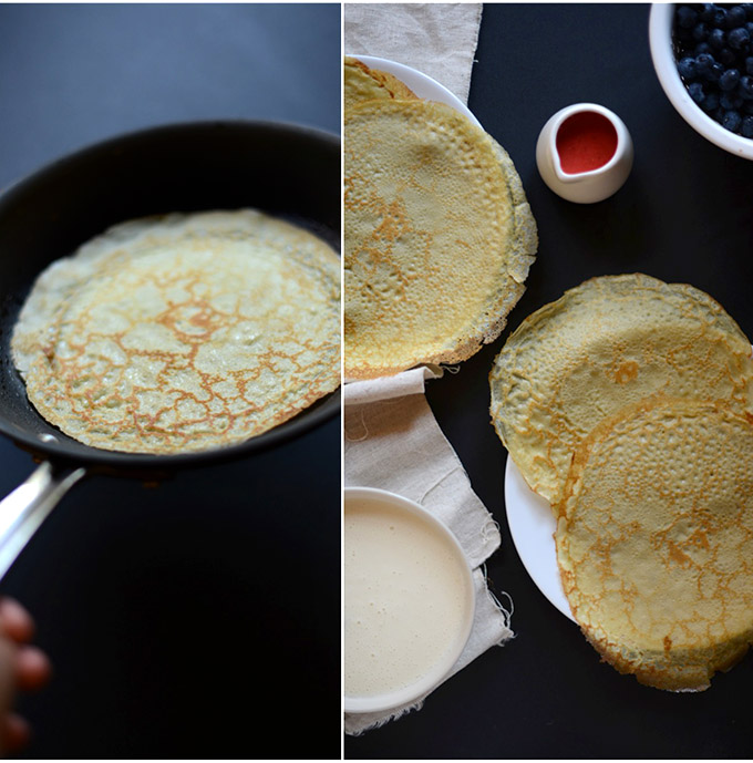 Skillet and plates filled with Gluten-Free Green Tea Crepes