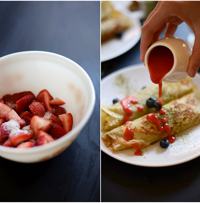 Pouring homemade Strawberry Sauce over a plate of Green Tea Crepes