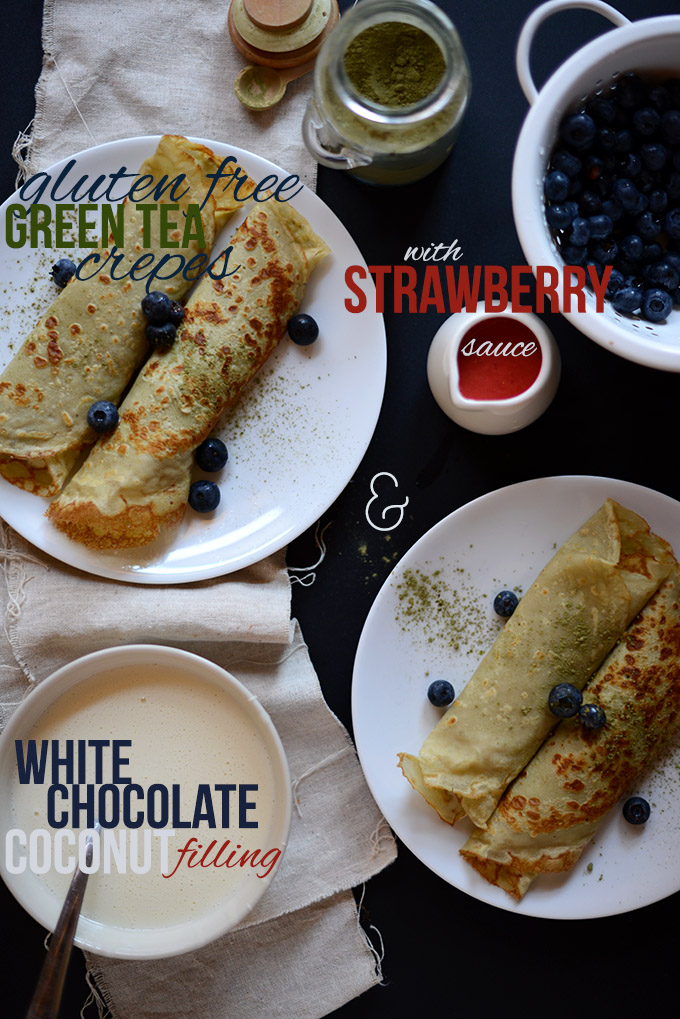 Plates of Gluten-Free Green Tea Crepes with White Chocolate Coconut Filling and Strawberry Sauce