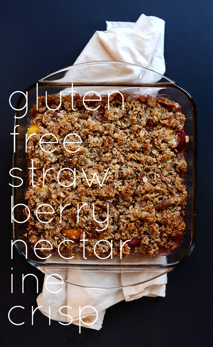Pan of Strawberry Crisp for a delicious gluten-free dessert