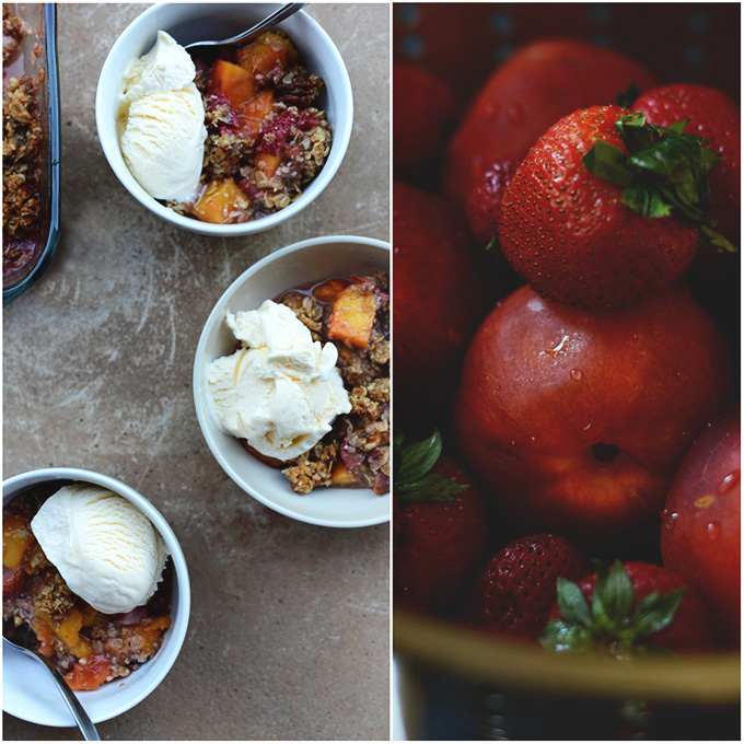Bowls of Gluten-Free Strawberry Nectarine Crisp with scoops of ice cream