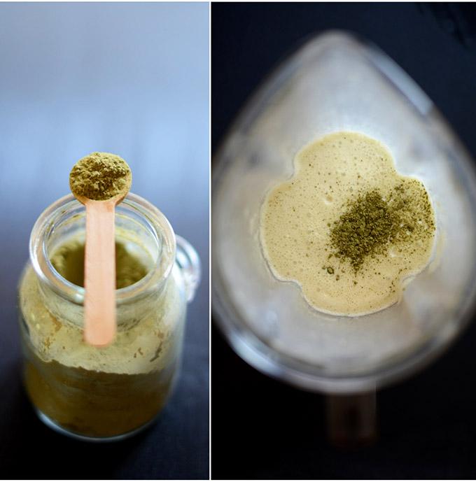 Jar of matcha powder and blender filled with Green Tea Crepe Batter