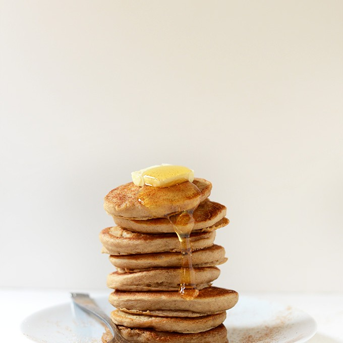 Giant stack of our Fluffy Sopapilla Pancakes recipe