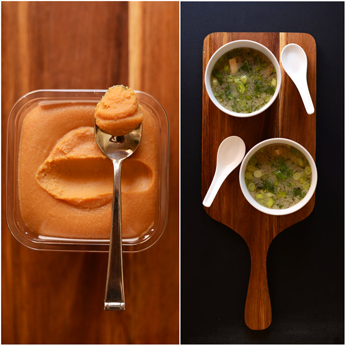 Miso paste and bowls of homemade miso soup