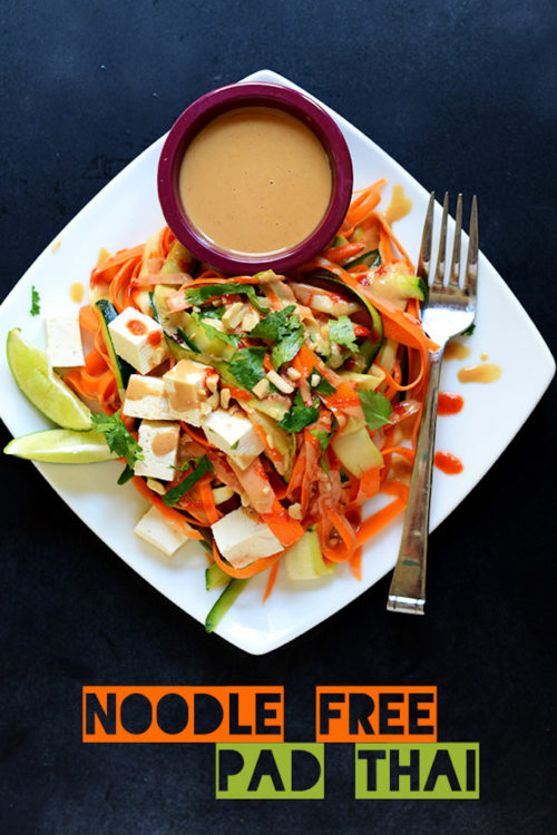 Plate of our Noodle-Free Tofu Pad Thai recipe for a low carb vegan meal