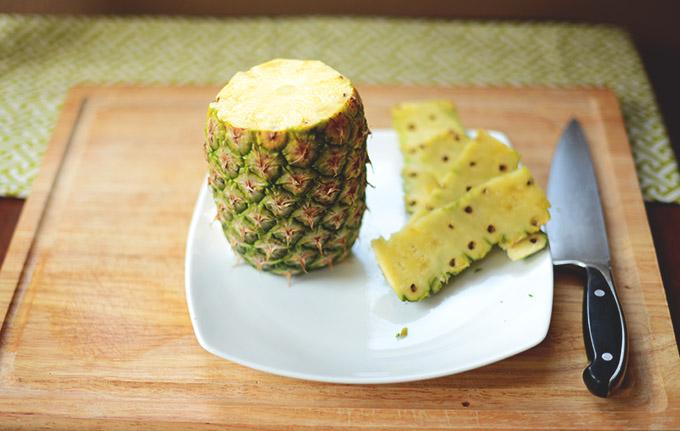 Plate of fresh pineapple for making Pineapple Spanish Sangria