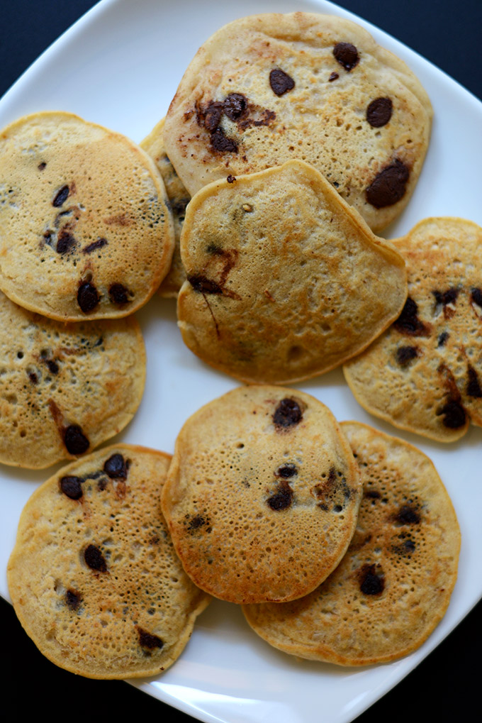 Plate of chocolate chip pancakes