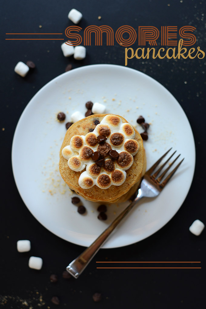 Plate of Smores Pancakes with toasted mini marshmallows on top