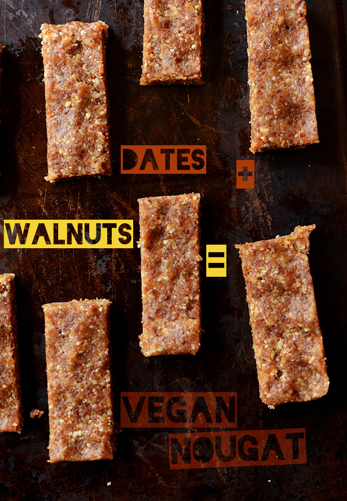 Date and Walnut bars for the nougat portion of Vegan Snickers Bars