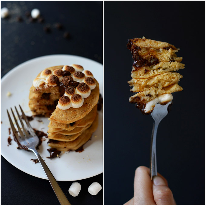 Big bite removed from a stack of our Vegan Smores Pancakes recipe