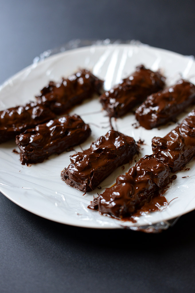 Plate of Vegan Snickers Bars for a delicious homemade dessert