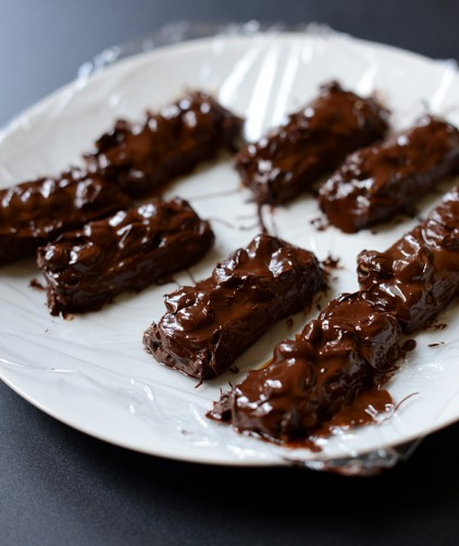 Plate filled with a batch of our Vegan Snickers Bars recipe