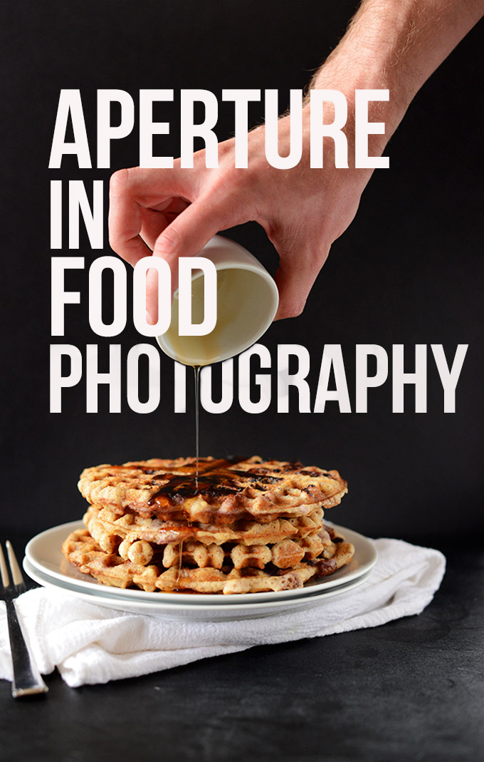 Pouring syrup onto a stack of waffles for our Aperture in Food Photography guide