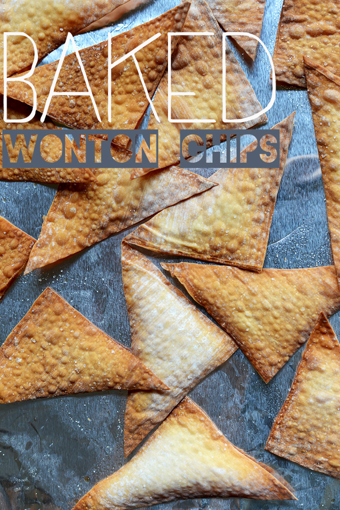 Batch of our homemade Baked Wonton Chips