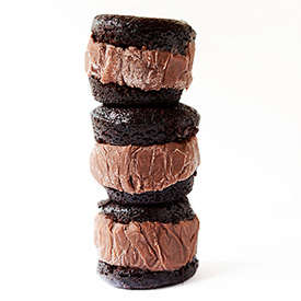 Stack of three homemade Brownie Ice Cream Sandwiches