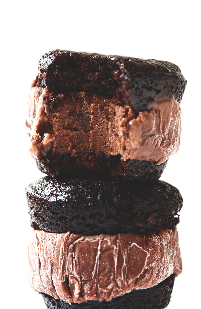Stack of delicious Brownie Ice Cream Sandwiches