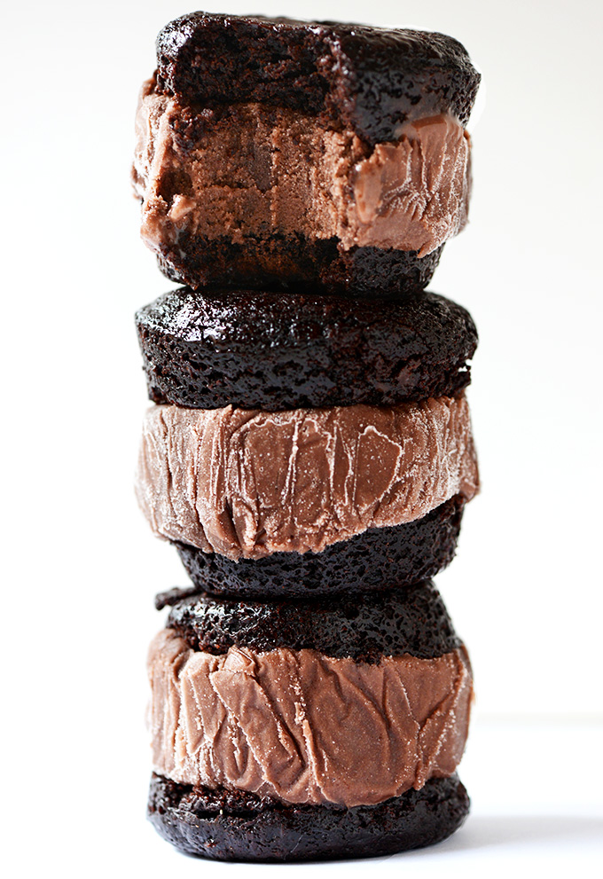 Stack of homemade Brownie Ice Cream Sandwiches