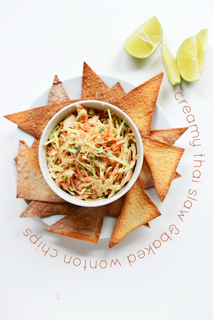 Bowl of Creamy Thai Slaw surrounded by Baked Wonton Chips