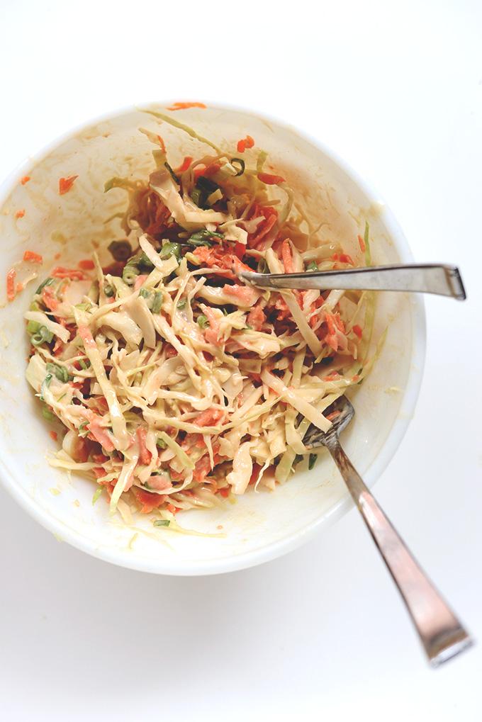 Bowl of our Creamy Thai Slaw recipe
