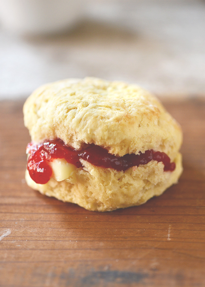 Fluffy Vegan Biscuit filled with butter and jam