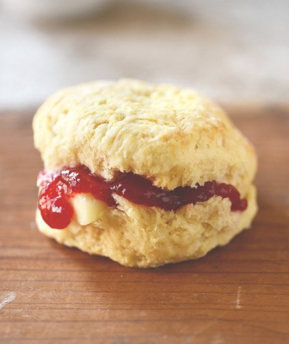 A mouthwatering vegan biscuit stuffed with jam and butter