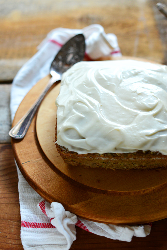 Loaf of Gluten-Free Zucchini Cake with Dairy-Free Cream Cheese Frosting