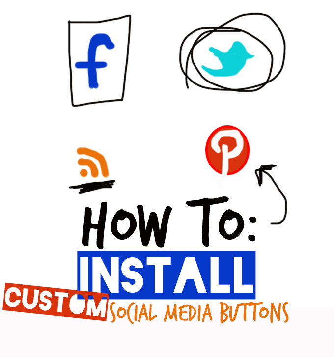 Graphic of social media buttons for our post on How to Install Custom Social Media Buttons