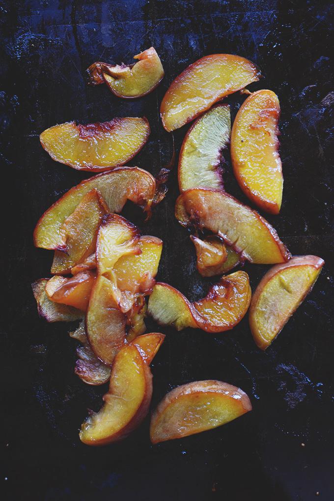 Freshly roasted sliced peach