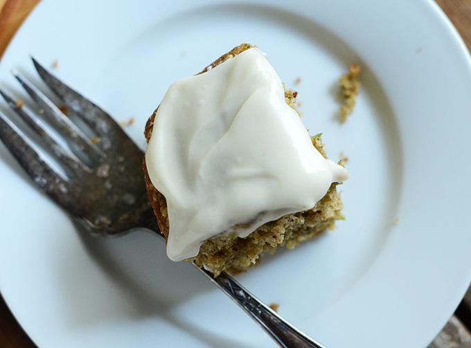 Slice of Gluten-Free Zucchini Cake with Cream Cheese Frosting