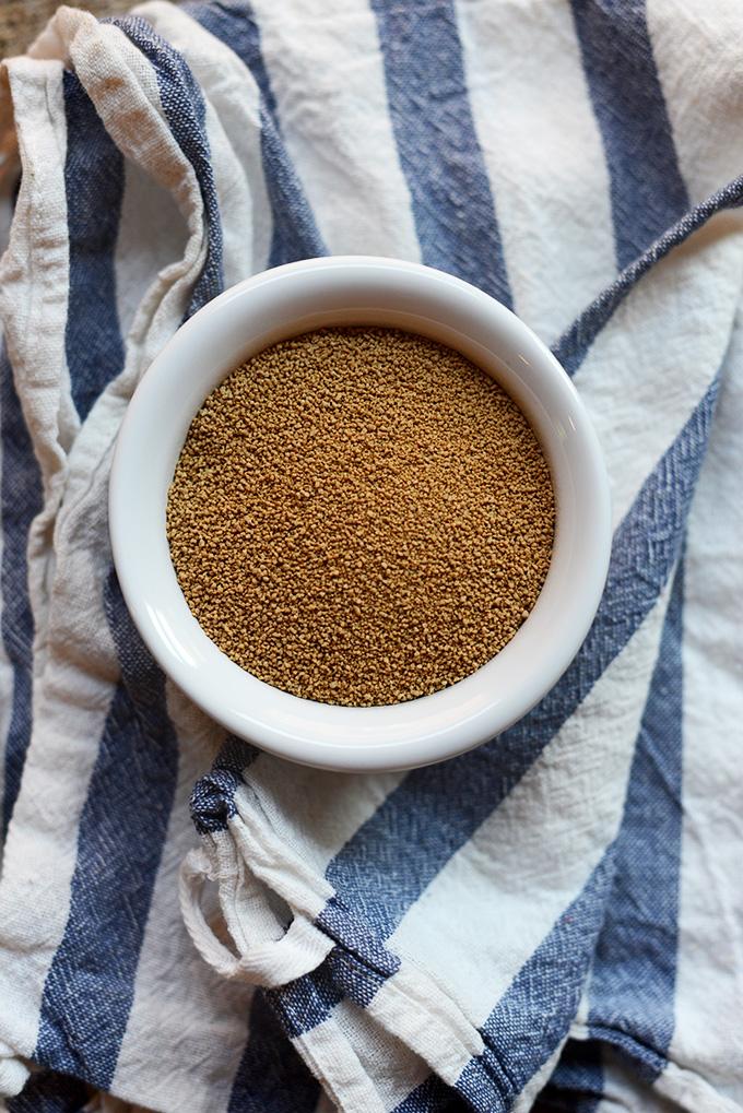 Bowl of Sucanat Sugar for making homemade waffles