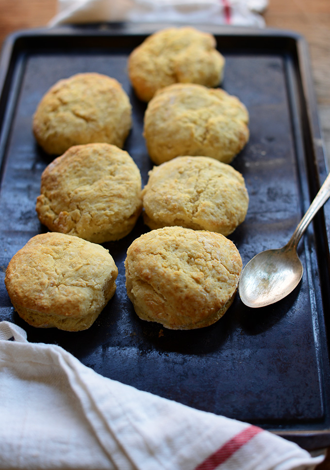 Batch of our Best Damn Vegan Biscuits recipe resting on a baking sheet