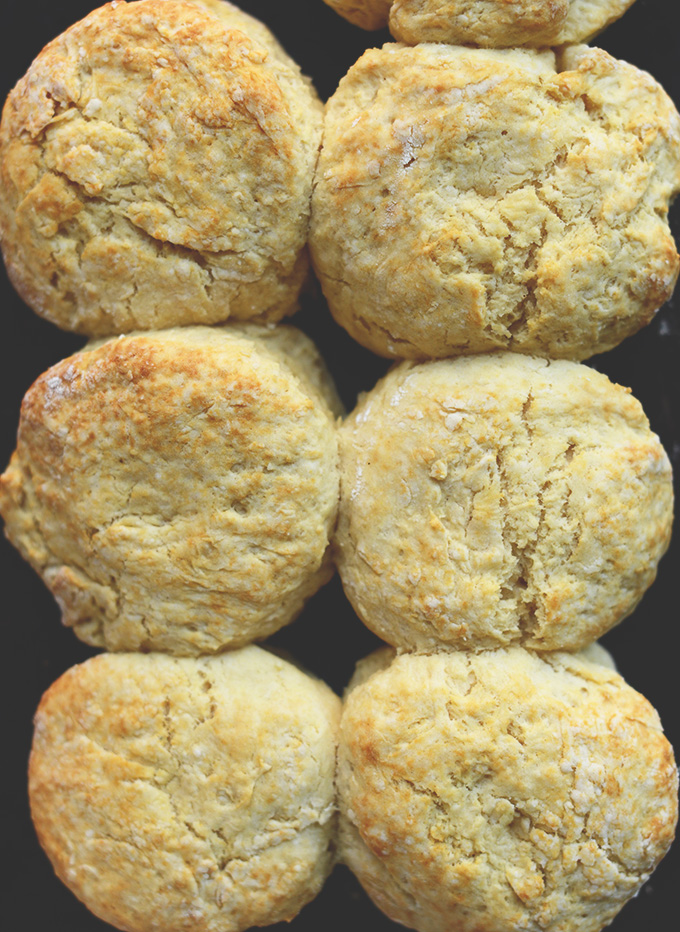 Baking sheet with a batch of the Best Damn Vegan Biscuits