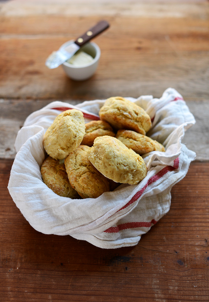 Batch of The Best Vegan Biscuits wrapped in a kitchen towel