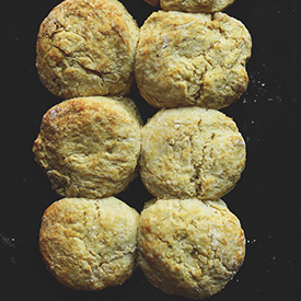 Baking sheet with six freshly baked Vegan Biscuits