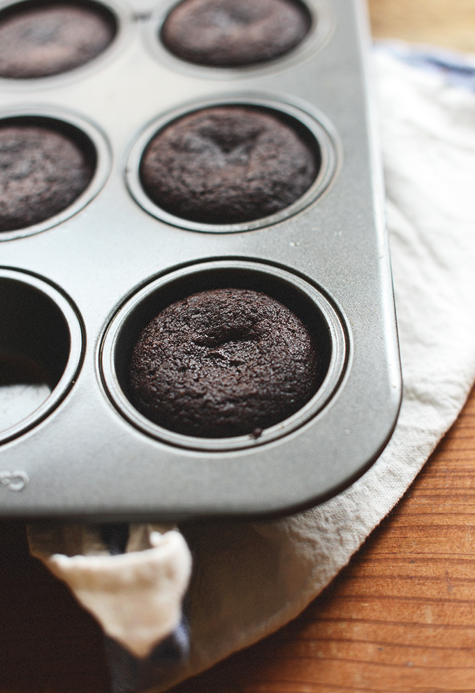 Muffin tin filled with a batch of our Vegan Brownies recipe