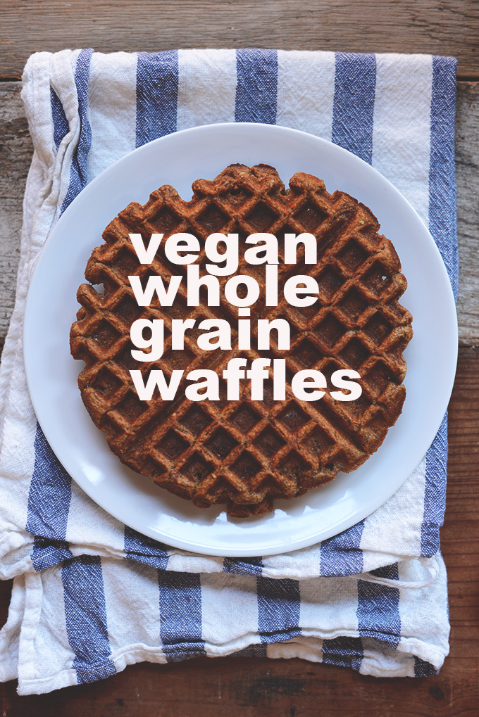 Big plate filled with a large Vegan Whole Grain Waffle