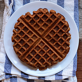 Vegan Whole Grain Waffle on a small plate