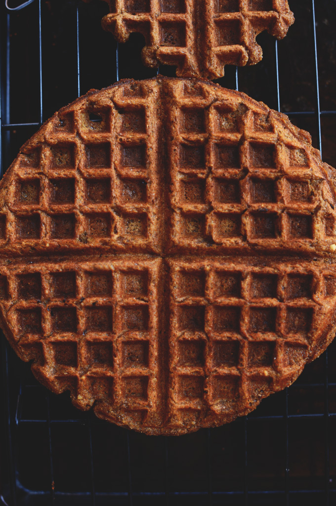 Whole Grain Molasses Waffle cooling on a baking rack