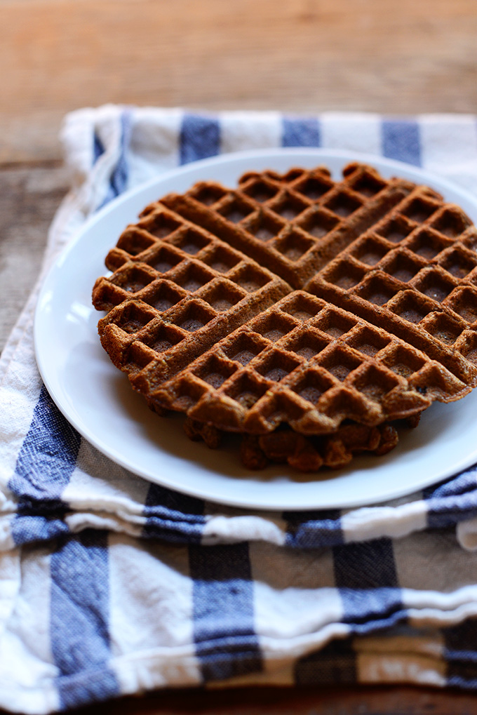 Stack of our Whole Grain Molasses Waffles recipe