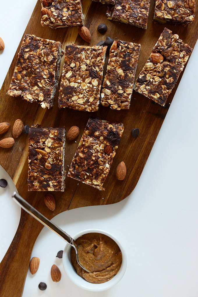 Simple homemade Chocolate Almond Granola Bars on a cutting board