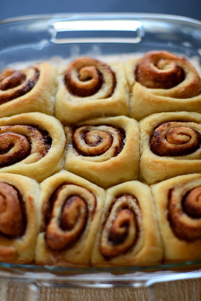 Freshly baked batch of simple to make cinnamon rolls