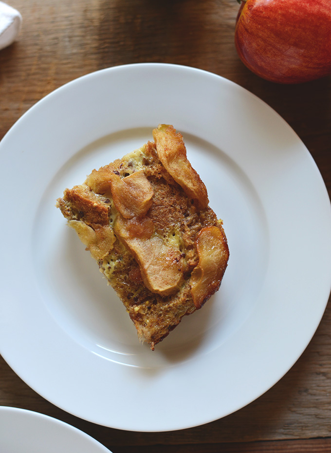 Plate with a slice of our Apple Cinnamon French Toast Bake