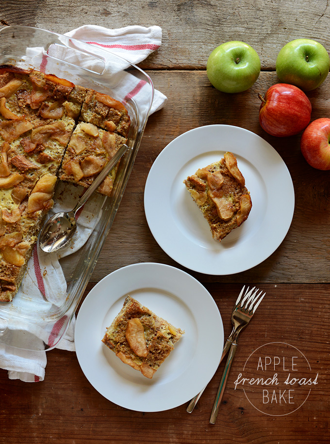 Plates and pan of our simple Apple French Toast Bake recipe