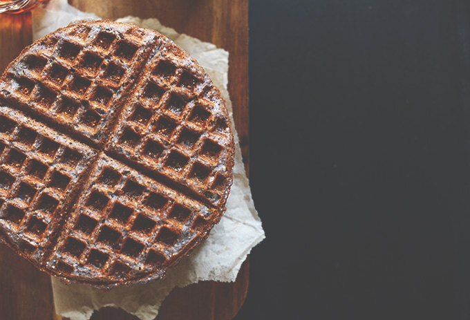 Cutting board with a homemade Blue Cornmeal Waffle
