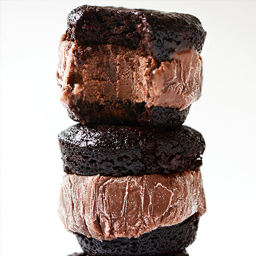 Showing the top two Brownie Ice Cream Sandwiches in a stack