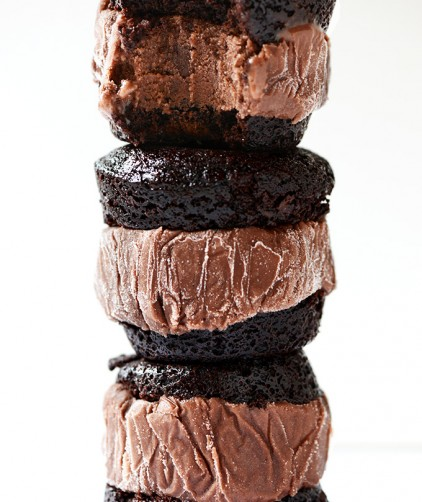 Stack of dairy-free Brownie Ice Cream Sandwiches