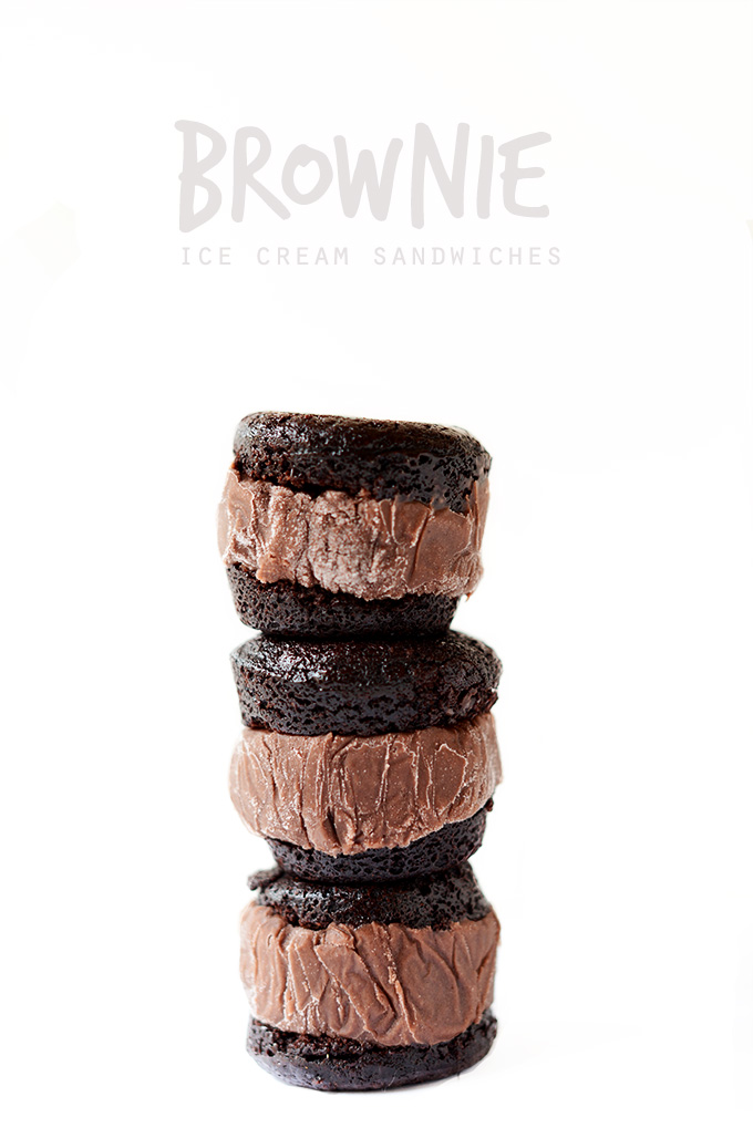 Stack of our homemade Brownie Ice Cream Sandwiches recipe